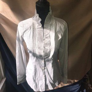 LOFT Striped Pleated Bib Button Down Shirt Sz 2